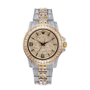 Männer großes Zifferblatt Iced Out Diamant-Quarz-Uhr LuxuxRhinestone HIP HOP-Handgelenk-Kristall-Uhren mit Edelstahlband