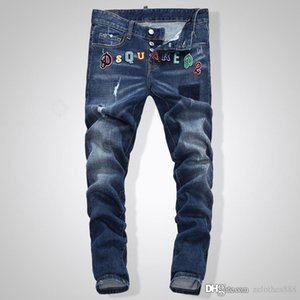 Mens Distressed Ripped Blue robin jeans Fashion Designer Slim Fit Washed Motocycle Denim Pants Panelled Hip Hop biker jeans1046