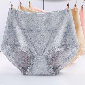 Bragas del cordón atractivo de la alta cintura femenina blanda sin costura de algodón puro de la ropa interior 2019 de las mujeres del color del caramelo de las bragas 10Colors