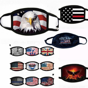 Baskı Tasarımcı Maske Evrensel İçin Erkekler Ve Kadınlar Amerikan Bayrağı Maske toz geçirmez ABD STOK Yüz Maskeleri Trump Amerikan Seçim Malzemeleri