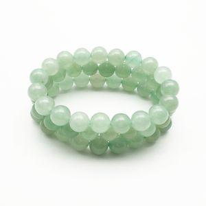 Bracelet Aventurine vert de 10 mm, Bracelet de pierres précieuses, Perles rondes en aventurine, Bracelet élastique, Bracelet de bonne chance