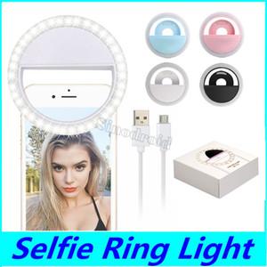 RK12 recargable Universal LED Selfie Light Ring Light Flash Lámpara Selfie Ring Lighting Camera Fotografía para iPhone Samsung S10 Plus 50PCS