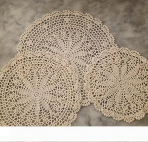 round lace cotton table place mat crochet coffee placemat pad Christmas New year coaster cup mug tea dining doily kitchen