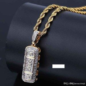 Hip Hop Glacé Or Couleur plaqué Micro Pavée Zircon Pill ID barre carrée collier pendentif bling Bijoux femmes fille