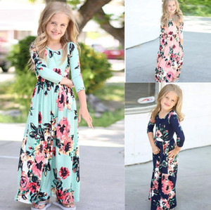 Baby Girl Kid longue longueur cheville Robe imprimé fleurs Princesse Party Dress Tenues Vêtements de soirée de mariage Costumes Maxi robe florale LJJK2025