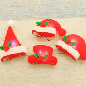 LUOEM 5PCS Novelty LED Light Up Decoration For Christmas Hat Hair Clip Fun Xmas Accessories Kids Xmas Party Gift A35