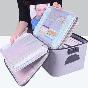 Archivo impermeable Bolsa Documento Papeles del organizador del almacenaje de la bolsa de viaje de alta calidad de gran capacidad de almacenamiento de documentos Bolsa Box