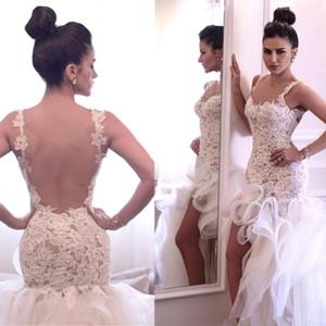 Organza de encaje Alto Bajo Playa Vestidos de novia 2019 Modest Backless Sirena volantes falda Vacaciones de verano Vestido de boda informal nupcial