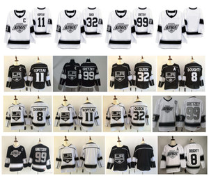 La Los Angeles Kings Jersey 99 Wayne Gretzky 11 Anze Kopitar 32 Jonathan Quick 8 Draw Douretty 2020 Heritage Shisted Hockey Jersey