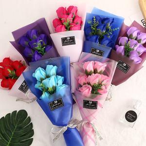 7 creativas pequeños ramos de flor rosa flor del jabón de simulación para el Día de San Valentín de la boda del día de madres Día del Maestro regalo decorativo Flores