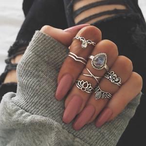 Горячая мода Ювелирные Изделия Ретро Резное Цветочное кольцо Алмазные Кольца Кольца Лотос Кольца 7шт / Набор S352
