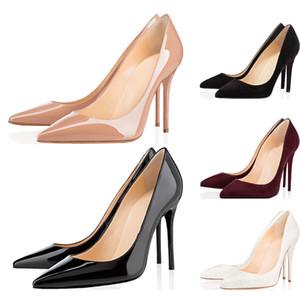 مع مربع جديد فاخر مصمم النساء أحذية عالية الكعب، Christain Louboutin 8CM 10CM 12CM القيعان الأحمر جلد أصابع القدم المدببة مضخات قيعان أحذية اللباس حجم 36-42