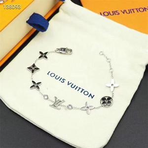 caixa de luxo mulheres 3 cores Cadeia jóias com diamantes pulseira pulseiras designer de aço inoxidável LV pulseira de presente dos Namorados 6319