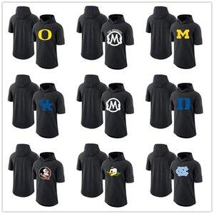 NCAA College хлопок Толстовка Футболка Мода лето с капюшоном Мужские футболки Черный шеи Короткие рукава Хип-хоп Весёлые Фанаты Топы Тис Отпечатано