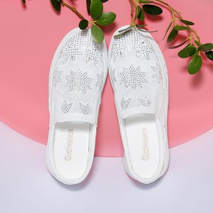 Black and white silver with lace embroidery casual shoes outdoor summer Women Running Shoes Round head thick bottom low top shoes 36-40