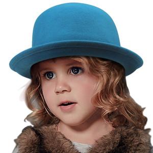9 Renk Çocuk Şapka Fedoras şapka Vintage kız çocukları Fedora Chapeau feutre Bowler Derby Katı Cappello bombetta 20 Caps fieltro