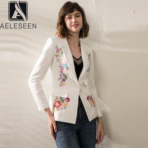 AELESEEN Luxe femmes Blazer 2020 Mode Runway Fleur Broderie Blanc Noir de travail Bureau Blazers