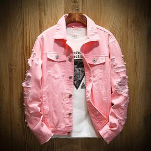 Homens jaqueta jeans Holes Ripped Mens rosa Jean Jackets New roupa lavada Mens Denim Brasão roupas de grife