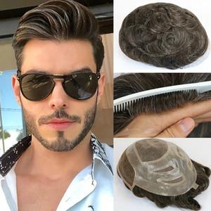 2020 Natural Human Hair Mens Toupee Francês Renda Frente Do Cabelo Sistema de Substituição Fine Mono Hairpieces Perucas Para Homens