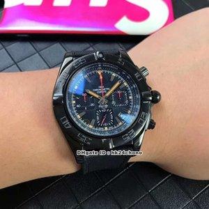 Mejor Nueva Chronomat 44 Blacksteel cronógrafo de cuarzo Reloj MB0111C3 / BE35 / 253S Negro Dial correa de la tela caballero relojes deportivos