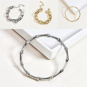 Romantic Charm Bracelets Tin Alloy Geometric Mosaic Rhinestone Bangles Imitation Gold Plated Simple Atmosphere Jewelry Women Gifts POTALA#803