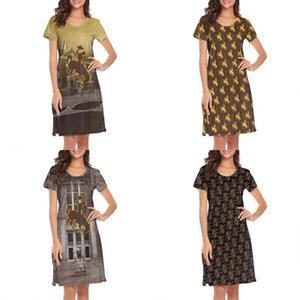 여자 디자인 인쇄 와이오밍 카우보이 축구 황금 흰색 안락 셔츠 드레스 디자이너 밴드 인쇄 라운지면 유머