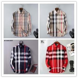 브랜드 남성 비즈니스 캐주얼 셔츠 망 긴 소매 줄무늬 슬림 맞는 캐미 사 masculina 사회 남성 티셔츠 새로운 패션 남자 체크 셔츠 # P10