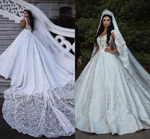 럭셔리 특종 Neckline 디자이너 웨딩 드레스 2019 전체 레이스 Appliqued 구슬 진주 신부 가운 성 웨딩 국가 신부 가운