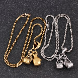 Newest Gold Silver Color Fashion Lovely Mini Boxing Gloves Necklaces Boxing Jewelry Cool Pendant For Men Boys Sport