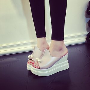 Fashion Solid Summer Wedges Slippers Women Open Toe Outside Solid Ladies Platform Slides Platform String Bead Shoes r06