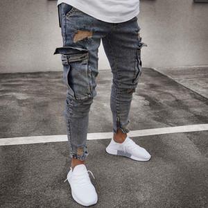 Septhydrogen Marca de bolsillo Jeans delgado Hiphop de la manera de los hombres ocasionales adelgazan recto apto pies de alto estiramiento flacos de los pantalones para hombre Negro Homme