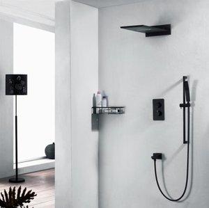 304SUS chuvas Cachoeira Showerhead Set torneira do painel do chuveiro chuveiro Coluna Wall Mounted Handle dupla termostática Mixer 3 Função