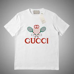 GUCCI stilista di alta qualità maglietta del bicchierino donne abiti europei degli uomini girocollo T-shirt 100% cotone uomini di stile a maniche corte sono # 56136