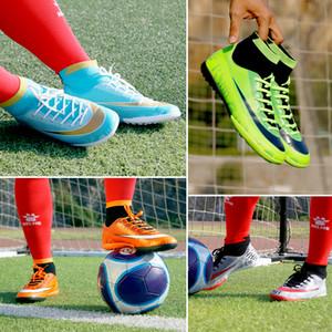 ZHENZU profissionais Homens Rapazes Turf alta Ankle chuteiras Chuteiras Futebol Botas caçoa as sapatilhas Atlético chaussure de pé