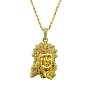 Christian gold kopf von jesus anhänger halsketten lange stil anhänger halsketten mode gold glück beten halskette