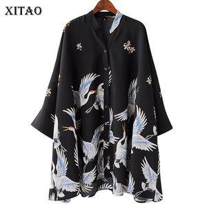 Xitao Crane Vintage Chiffon Damen Blusen Print Korean Fashion Kleidung Harajuku Halbe Hülse Stehkragen Damen Tops Kzh270 Y19062501