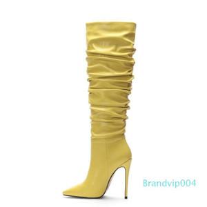 Grenzüberschreit ausschließlich für europäische und amerikanische Mode-Stiefel, spitze plissierten Stilett hochhackige Damenstiefel, Außenhandel Frauen