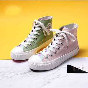 Women's Shoes Color Canvas Shoes 2020 Spring New High-top Trend Flat Sneakers Casual Comfortable Canvas Sneakers Women Shoes
