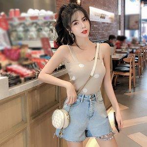 Summer Ladies Elastic Vest Padded Camisole Sexy Women Crop Top Summer Polka Dot Tank Tops 2020 New Camis