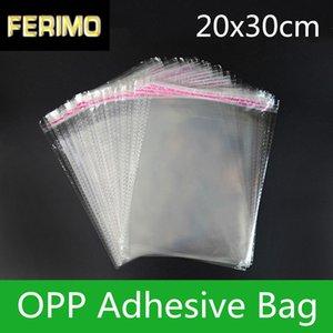 100pcs 20 * 30cm Kendinden yapışkanlı Temizle OPP / Poly Konfeksiyon Çanta Şeffaf OPP Çanta Plastik Düğün / Doğum Günü Hediye Paketleme OPP Çanta