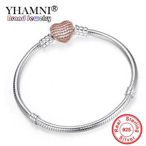 YHAMNI Romantischen Original-Silber-Herz-Form-Schlange-Ketten-Charme-Armband für Frauen Marke BraceletBangle DIY Schmucksachen, das Geschenk HZB106