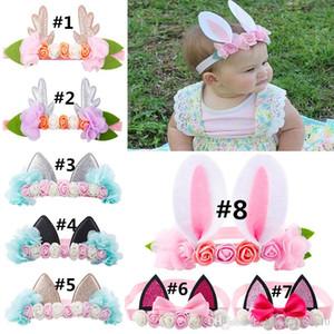 Baby-Osterhasen-Ohren Stirnband Elk-Katze-Ohr-Blume für Festival-Weihnachtsweihnachts Kids Fashion Rabbit Ears Bogen nette Accessoires