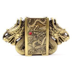 Dragon d'or boucle ceinture briquet ceinture boucle tête métal punk style ceintures pièces plus léger ceinture briquet homme
