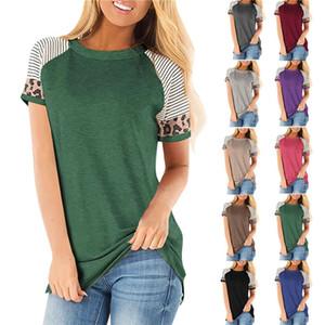 Mulheres listrado com estampa de leopardo de mangas curtas T-shirt 2020 camisetas New Girls Primavera Verão Moda Painéis T 10 cores S-3XL Tamanho