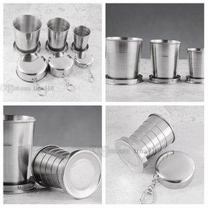 Nueva taza telescópica de acero inoxidable de viaje al aire libre taza plegable mini taza de enjuague bucal juego de beber té vasos T2I5074