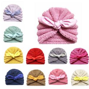 Bebek Hindistan Şapka Bebek Kış Beanie Çocuk Tavşan Kulakları Kafatası Bebek Örgü Şapka düğümlenmiş Caps Bebek Şapkalar Bantlar Aksesuarları C6528 Caps