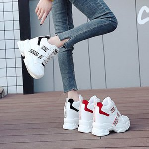 White Trendy Shoes Women High Top Women Platform Ankle Boots Basket Femme Chaussures Femmes Height Increase Shoes