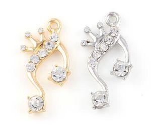20PCS / lot 15x30mm (Ouro, Prata Cor) Crown Pingente DIY Asa Música encantos Nota Ajustar para flutuar Dangle Medalhão jewelrys