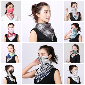 Women Scarf Face Mask Silk Chiffon Handkerchief Outdoor Windproof Half Face Dust-proof Sunshade Masks Scarf Dust Mask Party Masks DHB221