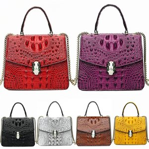 Designer-Hotsales Female Crocodile Shoulder Bag Motorcycle Vintage Bag Sheepskin Genuine Leather Studs Rivet Women Famous Chain Medium Ci#280